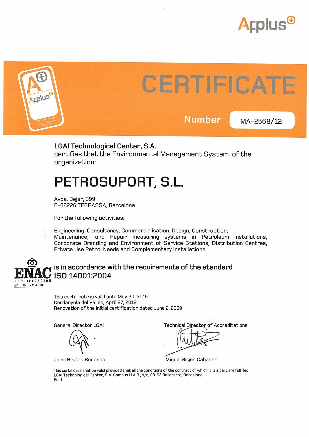 Acreditaciones petrosuport environmental certification iso 14001 2004 xflitez Image collections