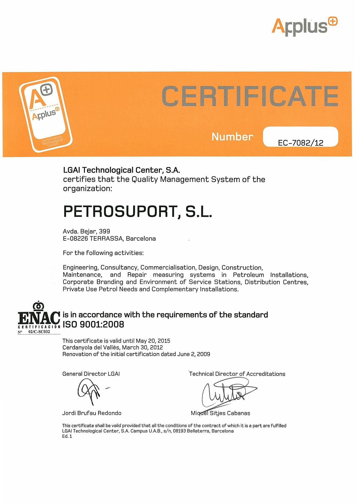 Acreditaciones petrosuport quality management system certification iso9000 xflitez Image collections